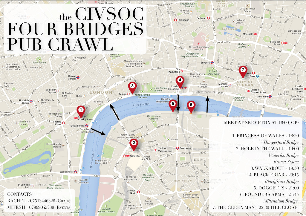 Our brand spanking new pub crawl map! Credit to Yuebi Yang.