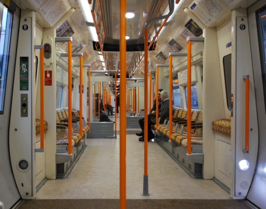 Interior of the current London Overground trains