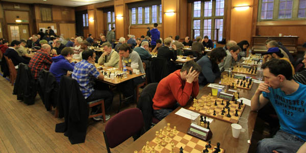 Playing hall at the Imperial College Chess Congress