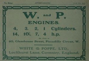 A White and Poppe Advert from 1905