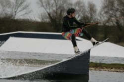 Wakeboarder on a Kicker at Imperial College Wakeboarding club