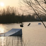 Tim Thio trying the kicker on a wakeskate